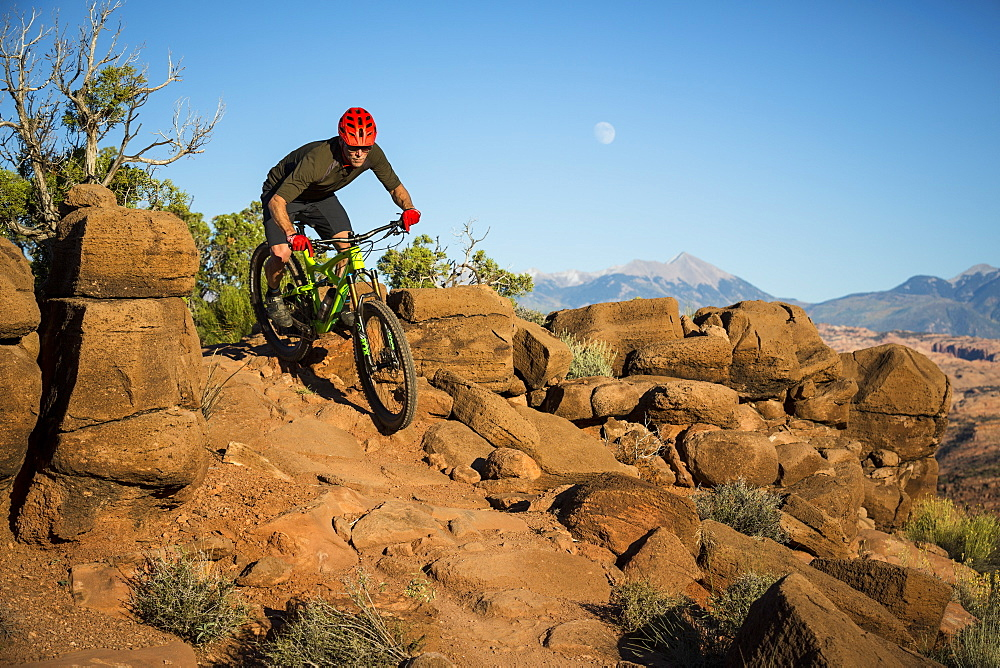Man mountain biking on a trail in a desert environment.