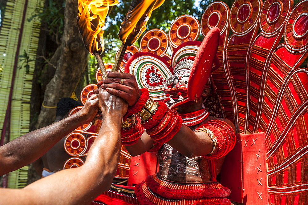 Theyyam ritual performed in the area of Kannur, Kerala, India.
