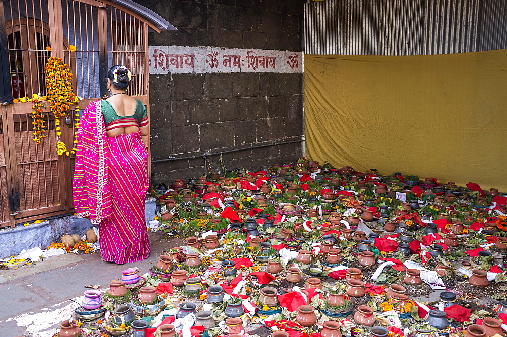 Offerings at the front of Siva temple, Nashik, Maharashtra, India.