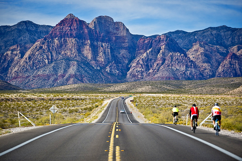 A long stretch of road leading into Red Rock Park in Nevada.