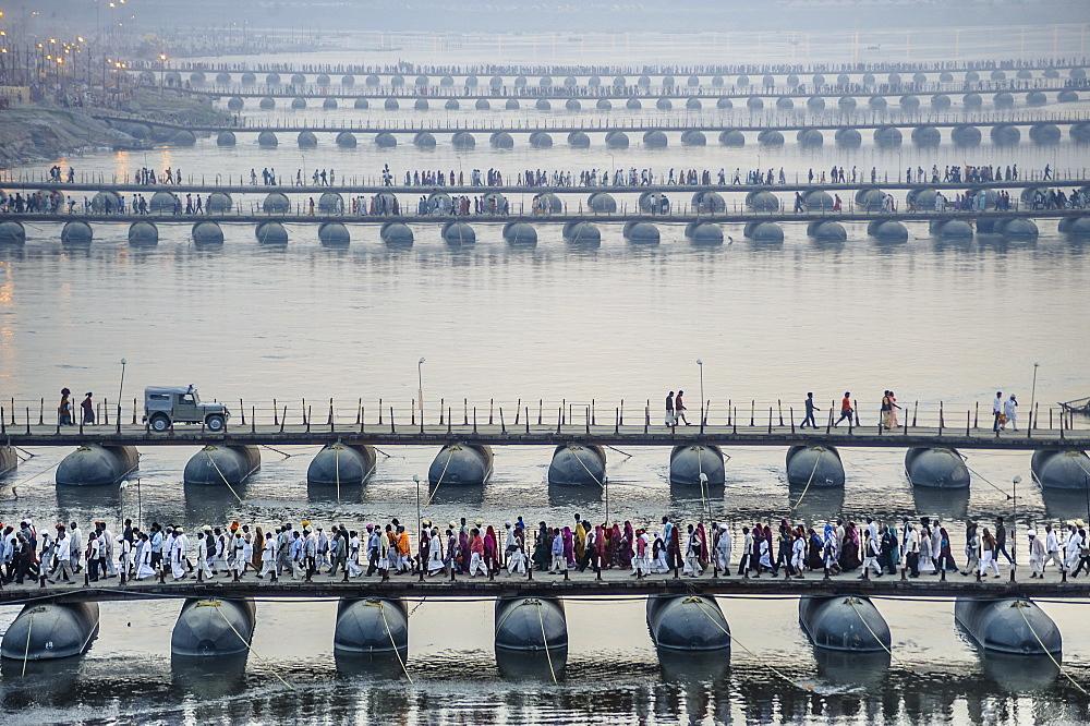 Pontoon bridges across the Ganges during Kumbh Mela, Allahabad, Uttar Pradesh, India.