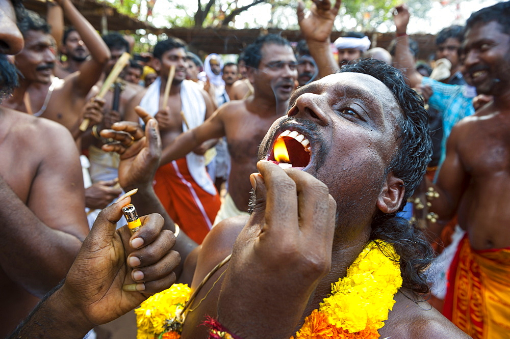 Devotees taking part Kodungalloor Bharani festival in Kerala, India.