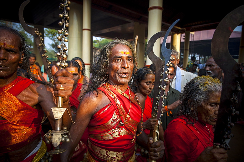 Devotees taking part Kodungalloor Bharani festival in Kerala, India.