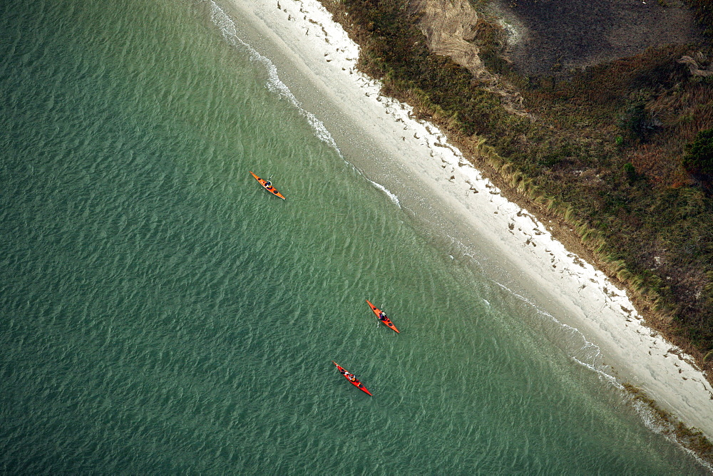 Aerials of Kayak race at Wrightsville Beach, NC