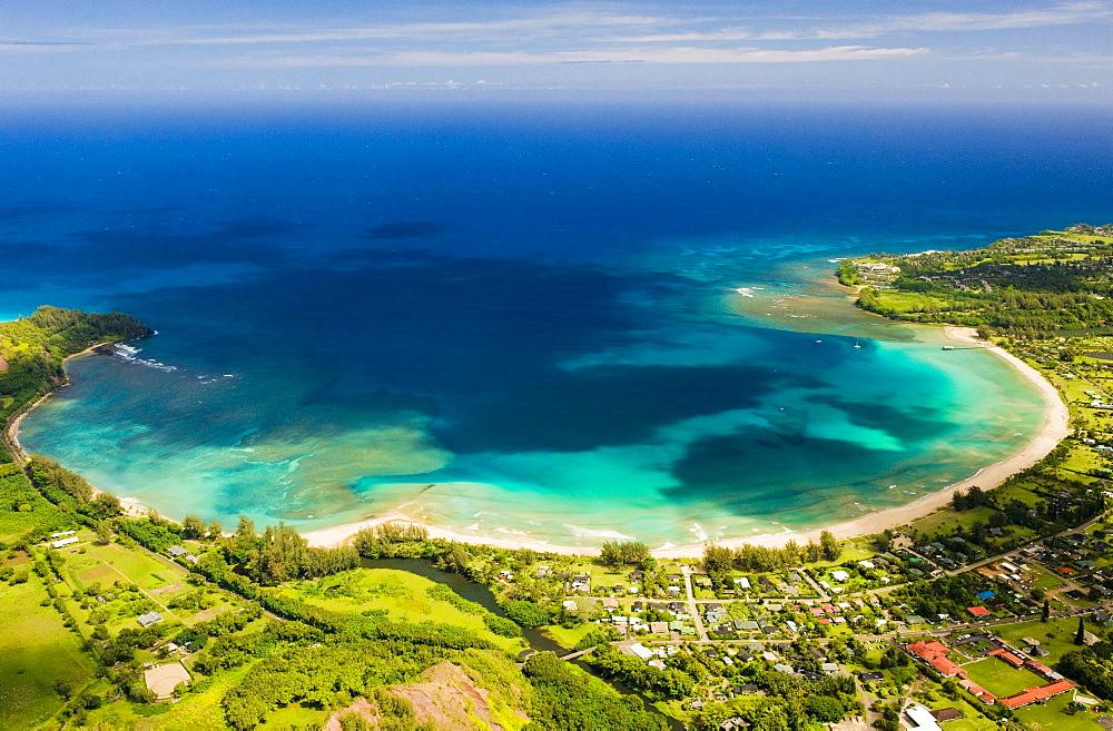 Hanalei Bay from the air, Kauai.