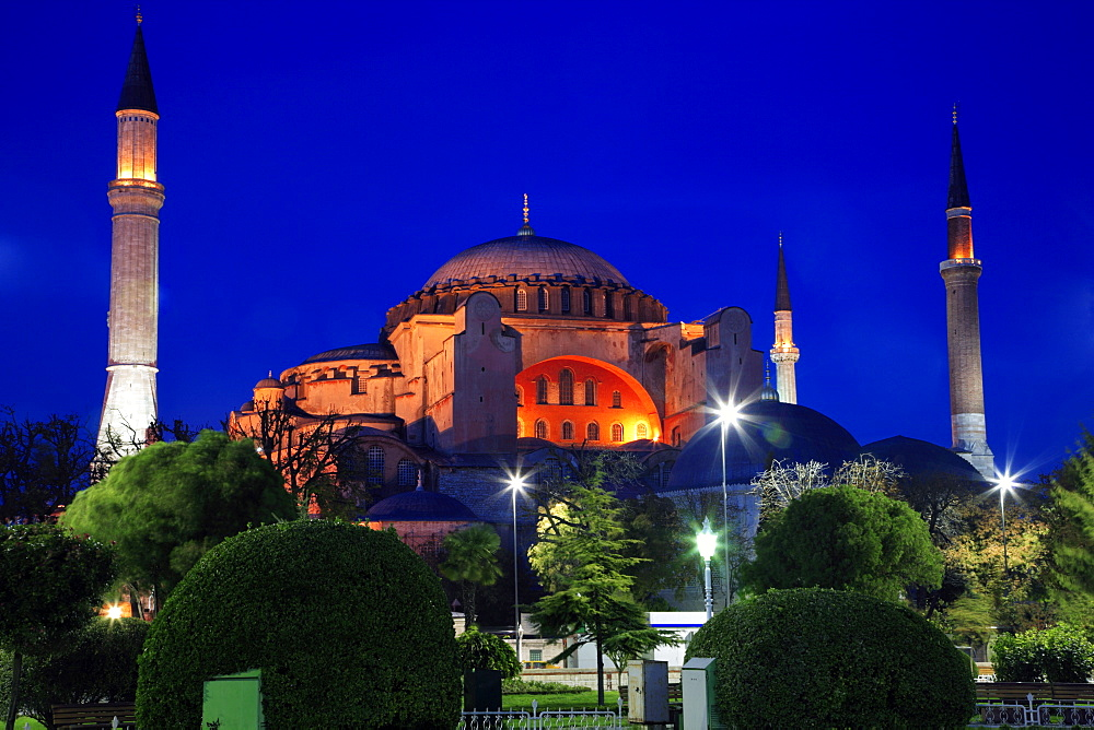 The Haghia Sofia Mosque at dusk,  Sultanahmet District. Istanbul, Turkey