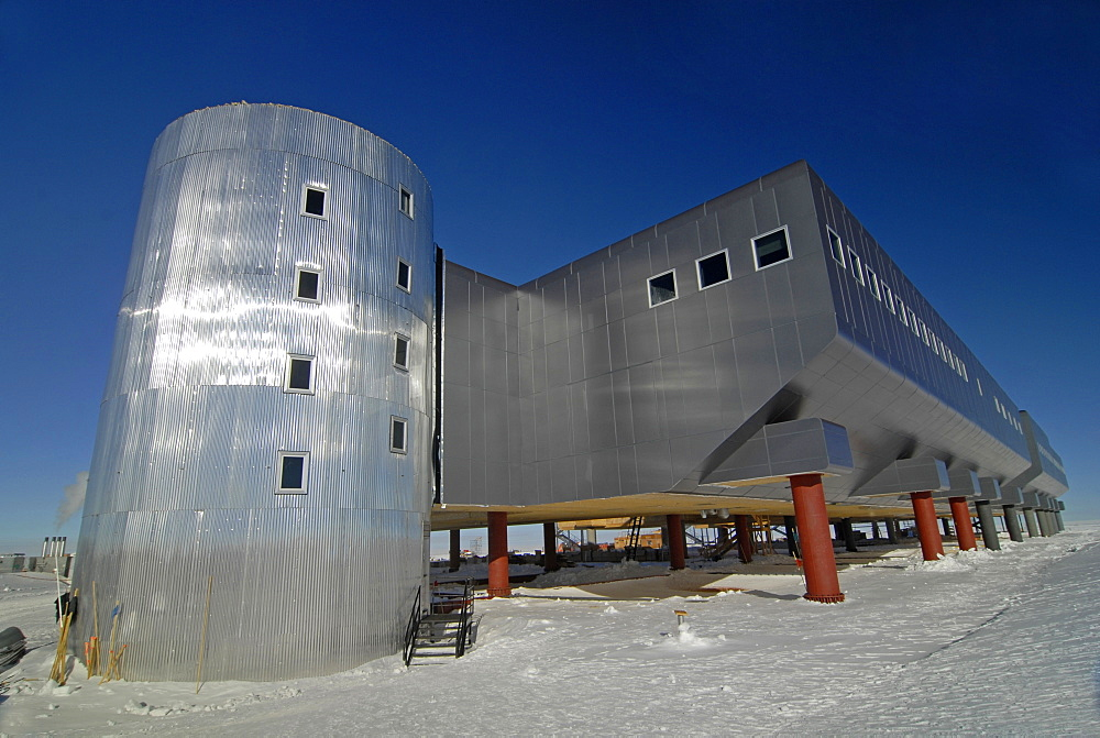 The sun reflects off the new United States South Pole Station, Antarctica.