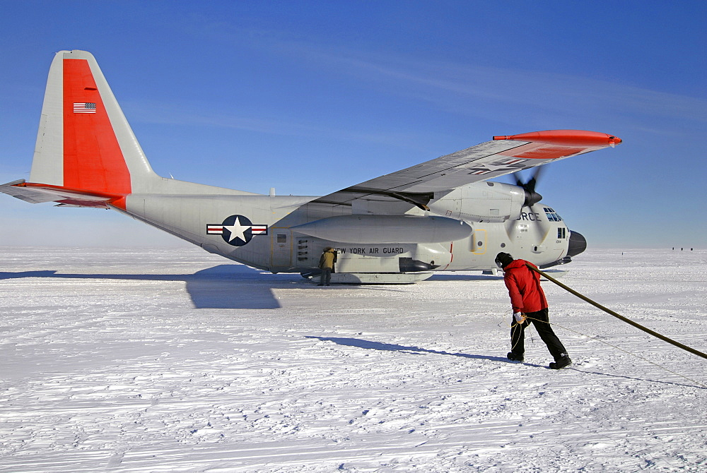 A plane refuels in the remote Western Antarctic.