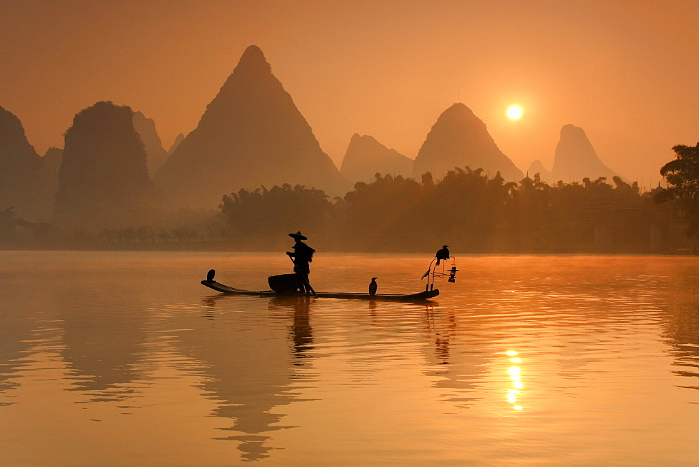 Chinese fisherman fishing in Li Jang River with cormorant birds, Guilin - 857-91966