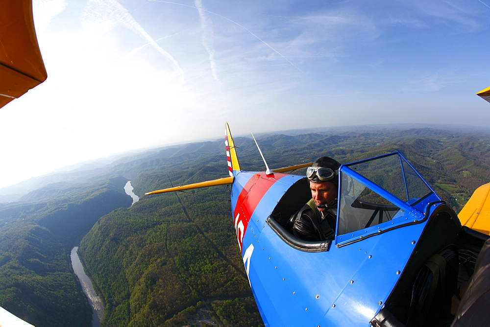 Wing-mounted remote camera view of 1941 Stearman biplane near Fayetteville, WV