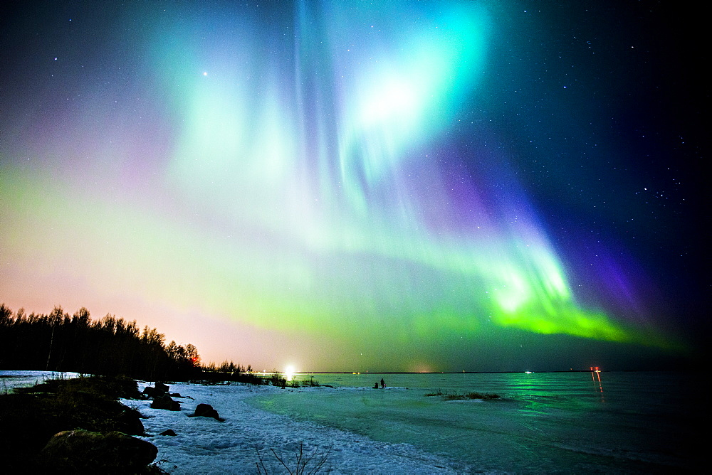 Aurora Borealis (Northern Lights) in Oulu, Finland during the peak of a solar storm.