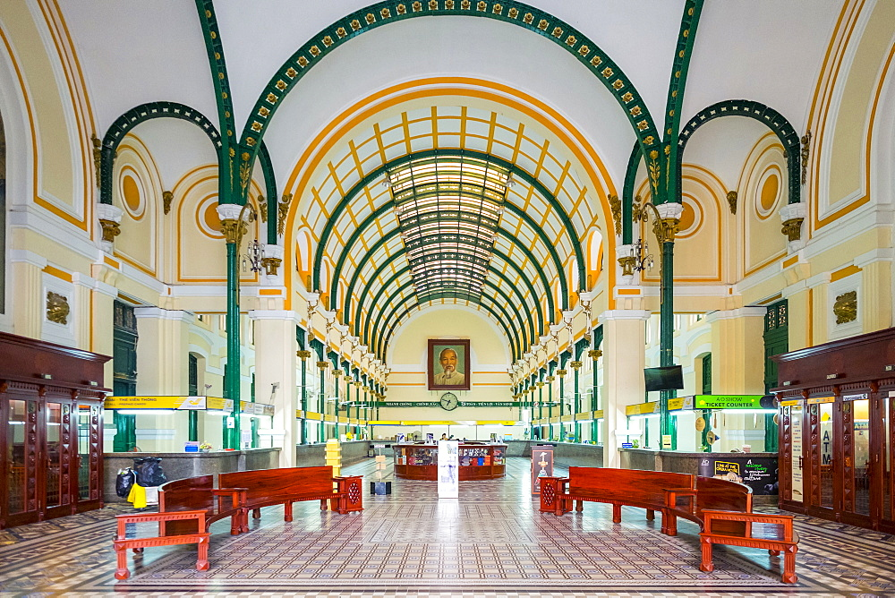 Colonial interior of Saigon Central Post Office, H? Chí Minh City (Saigon), Vietnam