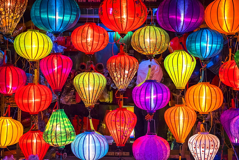 Hand-made silk lanterns for sale on the street in Hoi An, Quang Nam Province, Vietnam
