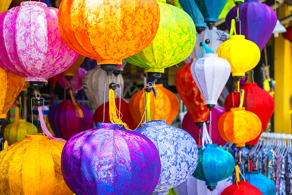 Silk lanterns for sale on the srteet in Hoi An, Quang Nam Province, Vietnam
