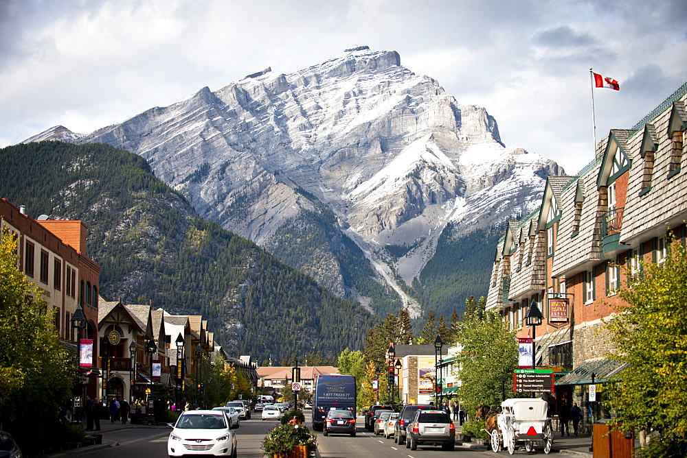 A sunny day in the picturesque mountain town of Banff, Alberta, Canada.
