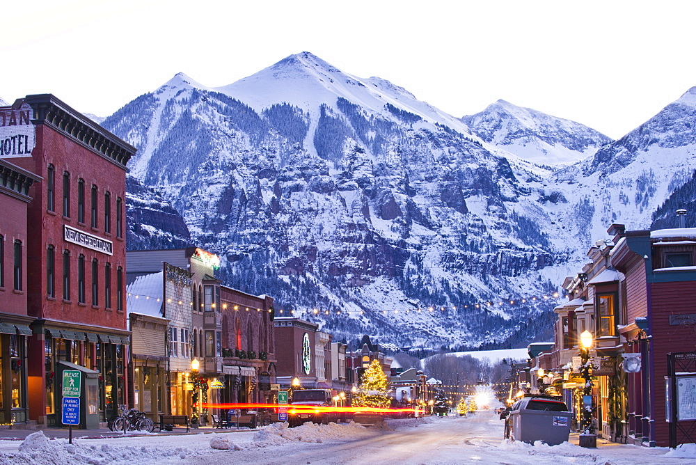 A winter morning in the mountain town of Telluride, Colorado. (long exposure)