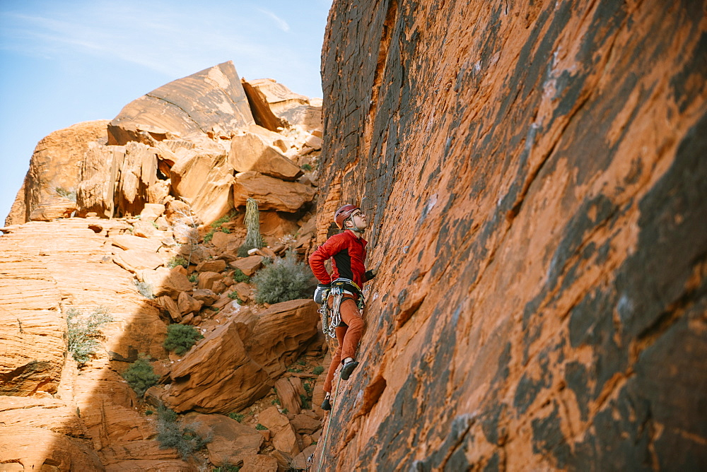 "A climber leading ""Brief Encounter"" (5.8) on Panty Wall in Red Rock Canyon, Nevada"