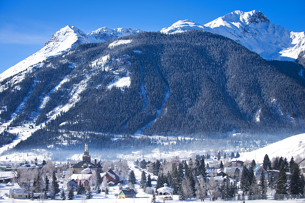 A sunny morning in the snow covered mountain town of Silverton, Colorado.