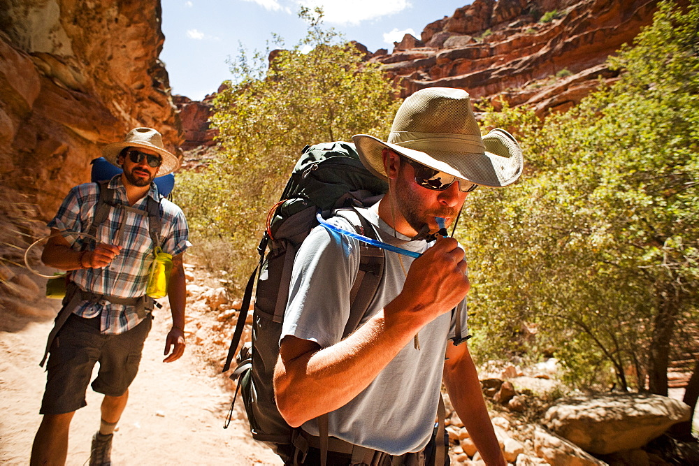Two friends backpacking through the Grand Canyon.