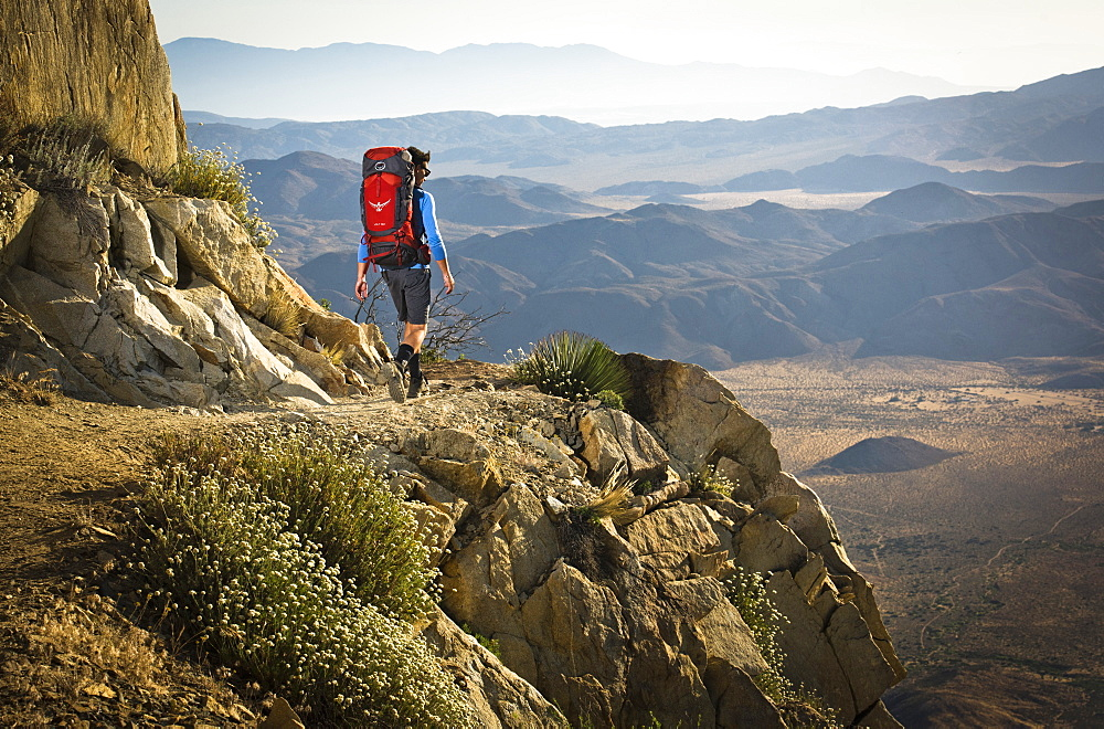 A Young Man Hiking On Rocky Section Of The Pacific Crest Trail Near Mount Laguna, California, Usa