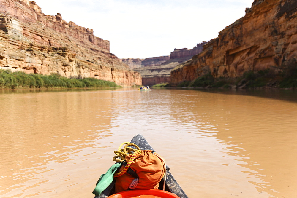 The Colorful Bow Of A Canoe While Paddling Down The Green River In Utah