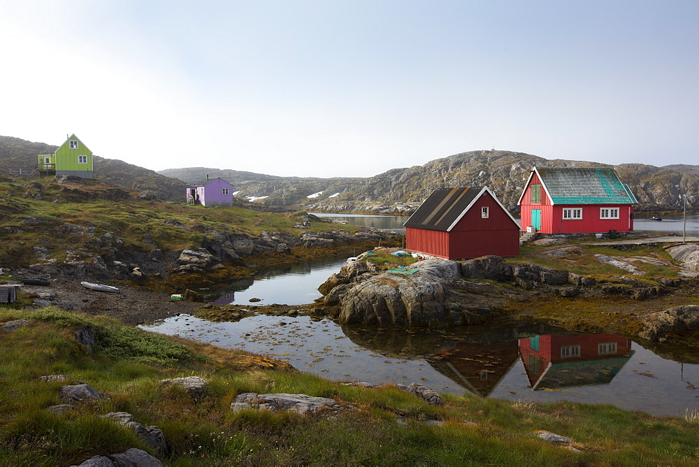 Small Colorful Houses In The Village Of Itilleq In Kangerlussuaq Fjord, Greenland