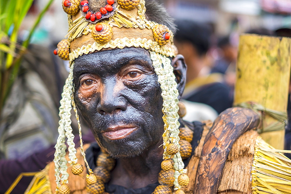 A Participant In The Ati-atihan Festival Wearing Hand-made Costume Made From Natural Materials