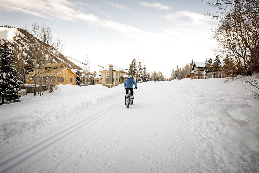 Person Riding Mountain Bike In The Town Of Ketchum, Idaho