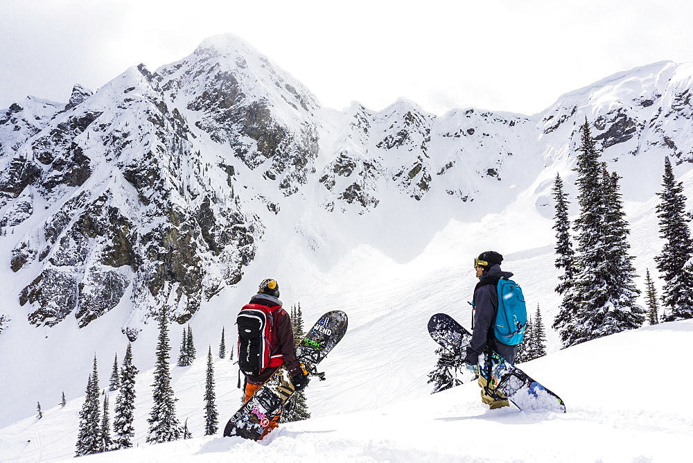 Two Friends With Snowboard Hiking In Snowy Region