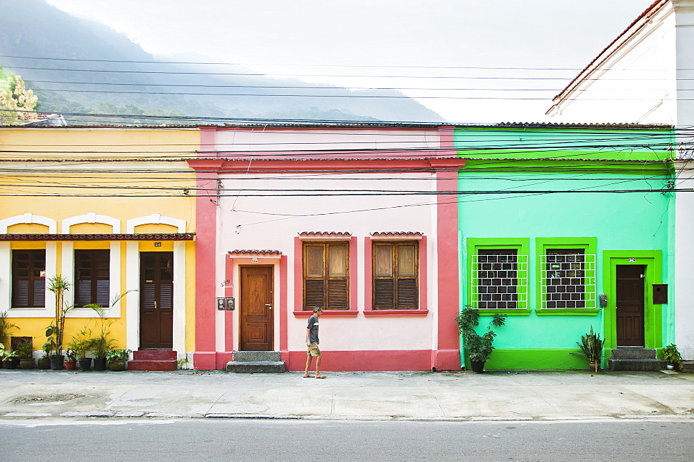 Three colorful townhomes in the mountains of Rio de Janeiro, Brazil