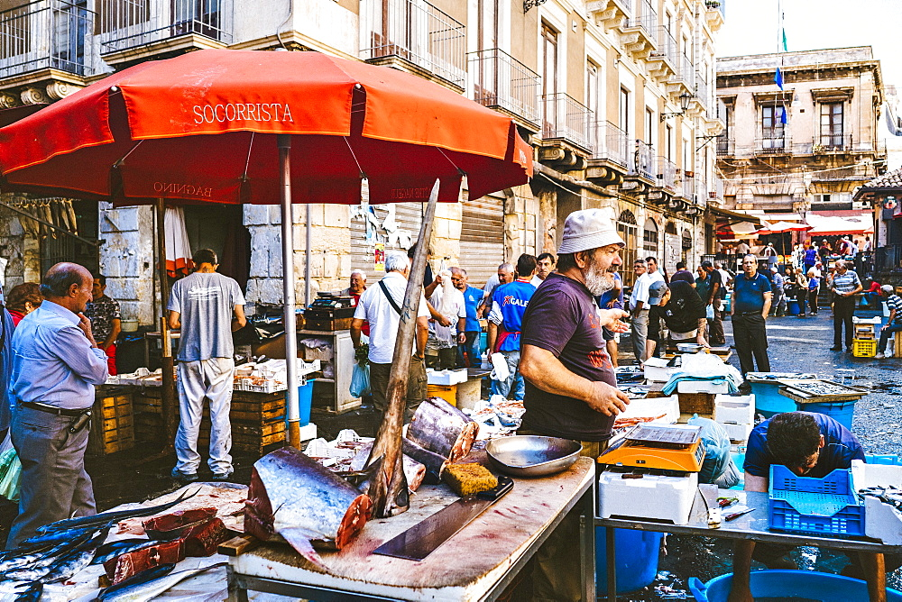 A Fish Monger At The Catania, Sicily Fish Market