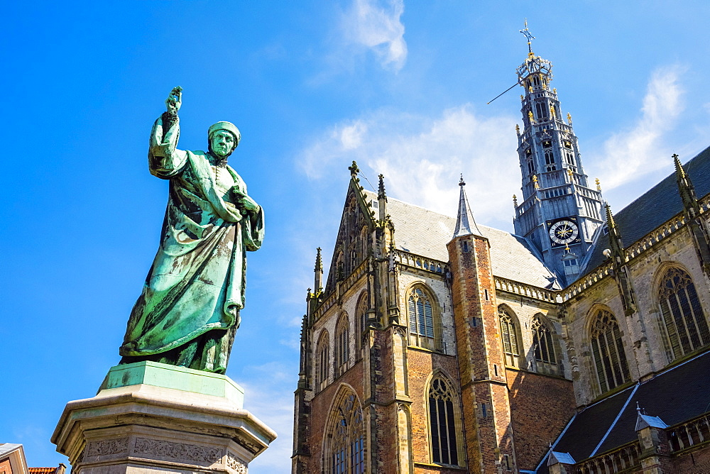Statue Outside The Saint Bavokerk Church Or Grote Kerk, Haarlem, Netherlands
