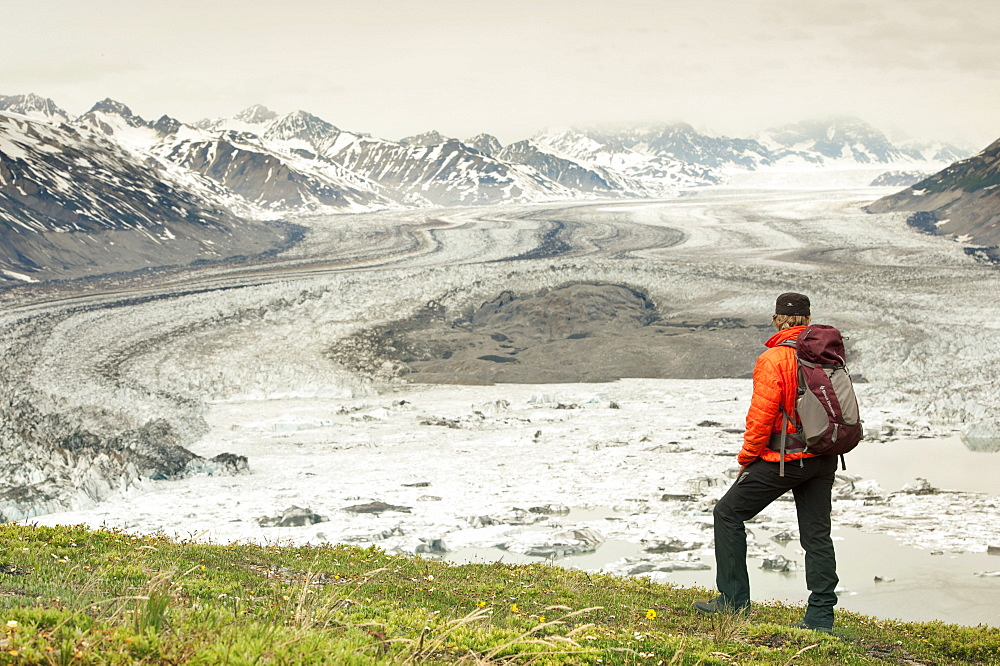 Hikers On Goatherd Mountain Above Lowell Lake, Alsek River, Canada