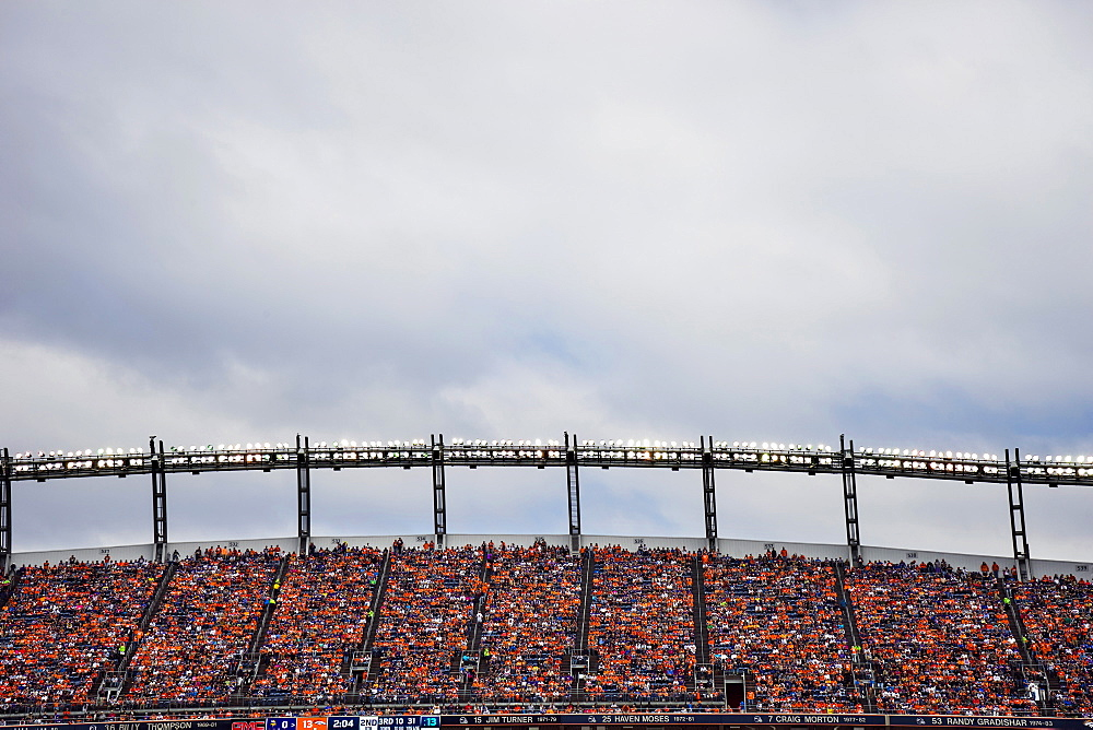 Stadium Lights And Nosebleed Seats At Mile High Stadium In Denver, Colorado