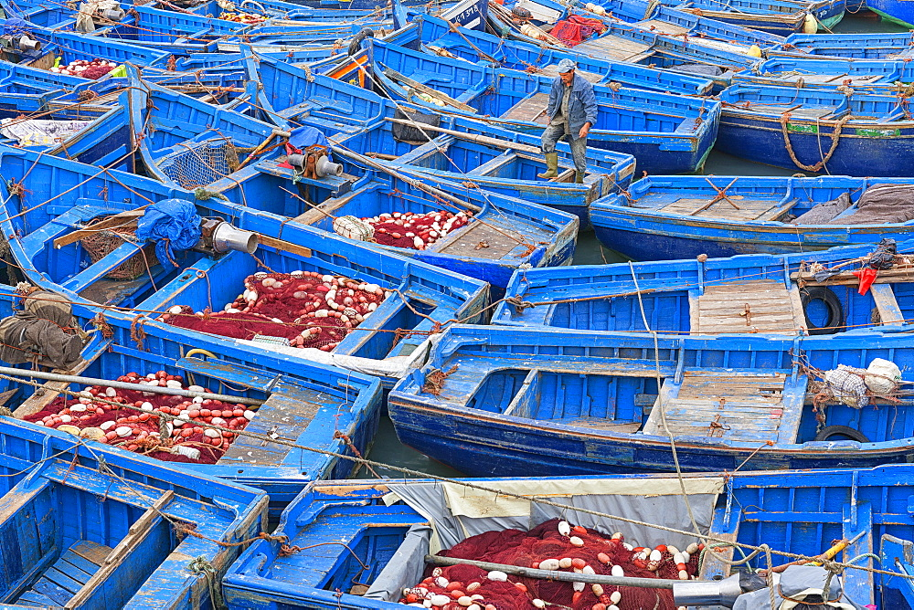 High Angle View Of Fishing Boat On The Fishing Port Of Essaouira