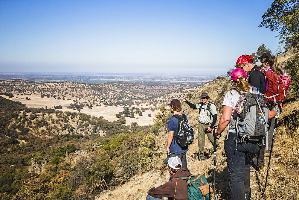 Hikers overlooking the Central Valley The Sutter Buttes, formerly known as the Marysville Buttes