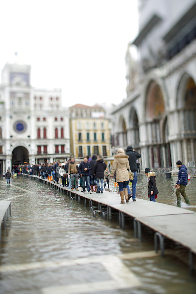 Tourist Crowded In Pizza San Marco In Venice, Italy