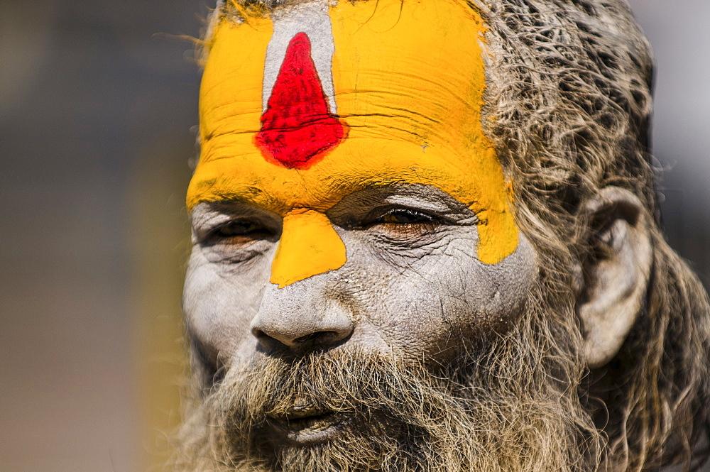 A Shaivite sadhu or Hindu ascetic at Pashupatinath Temple in Kathmandu, Nepal