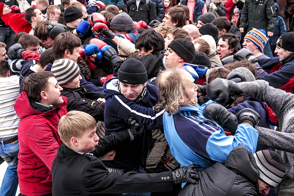 Crowd Of Fighters At The Festival Of Maslenitsa In Russia