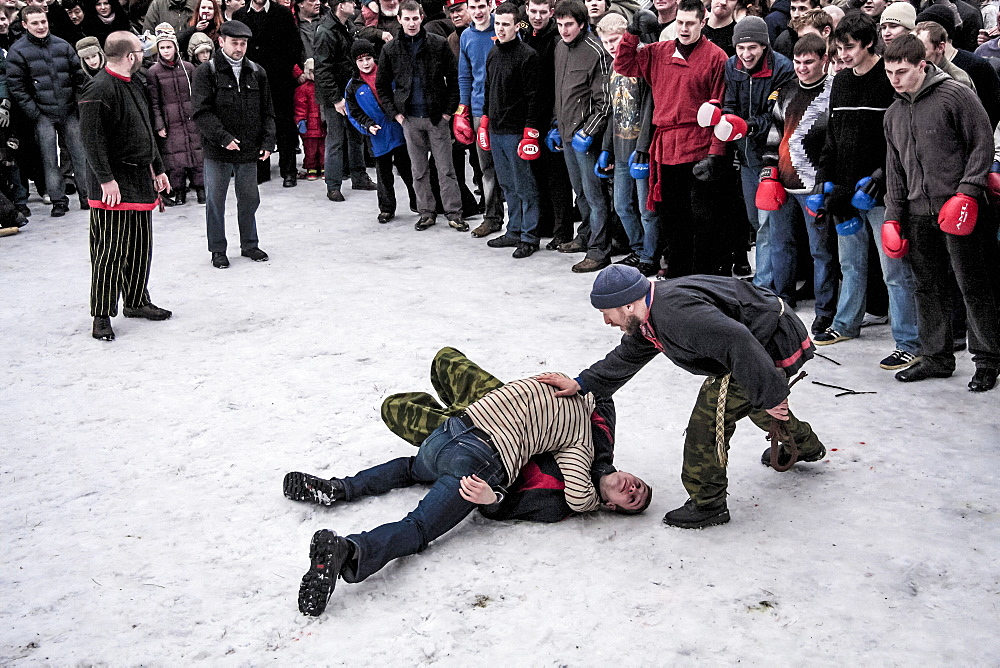 Fighters Wrestle At The Festival Of Maslenitsa In Russia