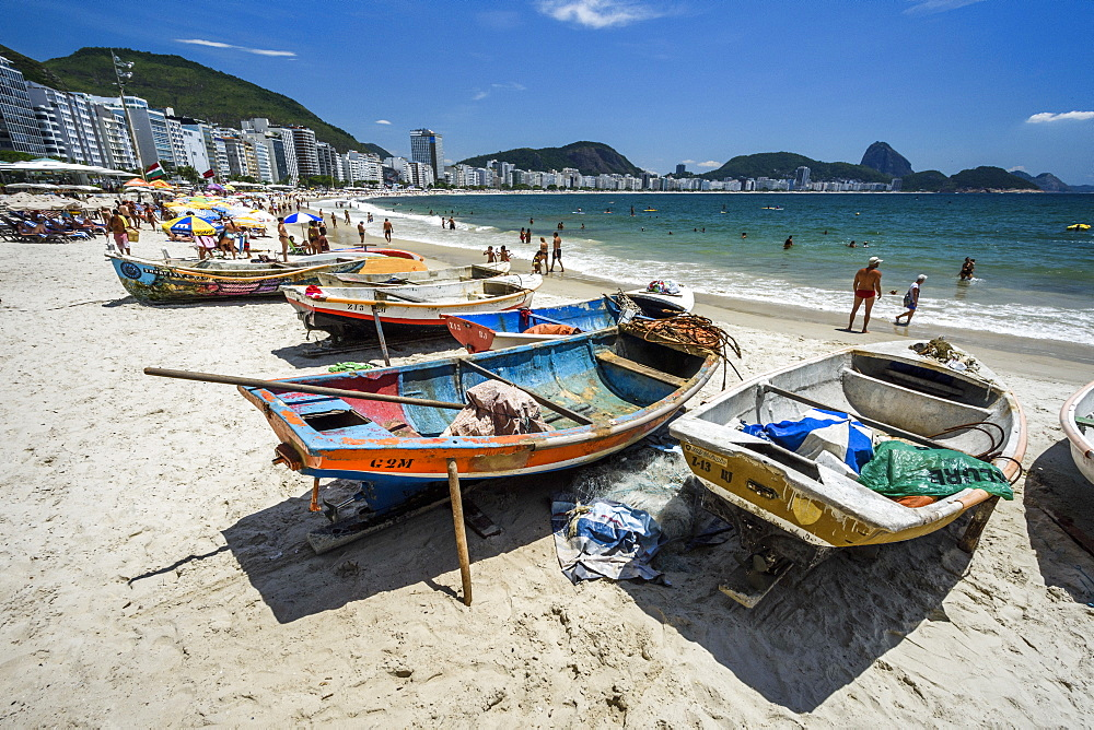 Fishing boats in the sands of Copacabana Beach, Rio de Janeiro, Brazil
