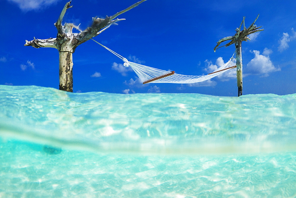 Famous hammock hanging above sea at Gili Lankanfushi island