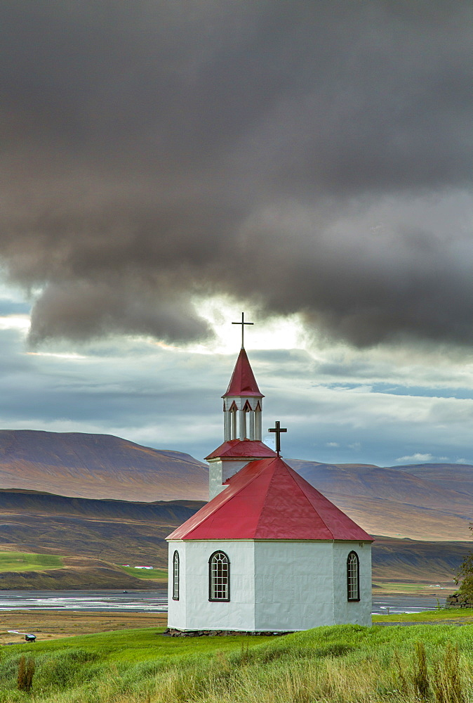Silfrastadir octagonal farm church, Northern Iceland.