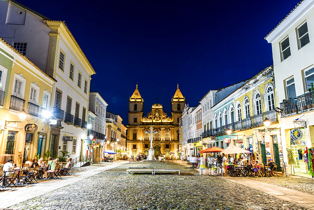 Pelourinho district at night in the old historic downtown of Salvador, Bahia, Brazil