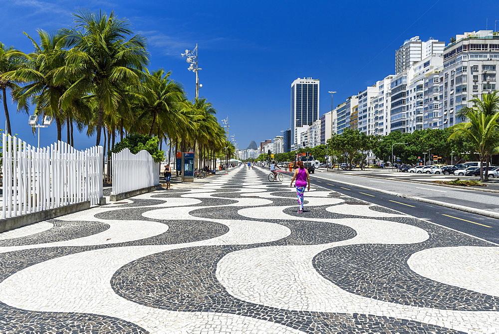Pavement lining Copacabana Beach, Rio de Janeiro, Brazil