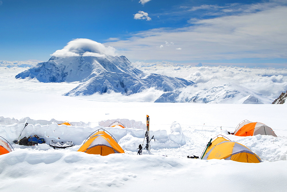 A Camping On The Kahiltna Glacier Of Denali In Alaska