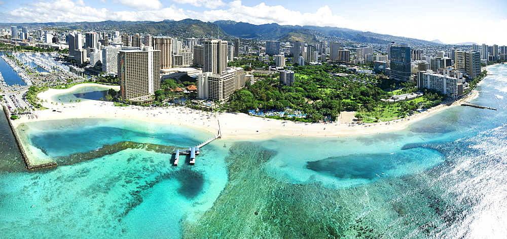 A Panoramic Helicopter View Of Waikiki's Beautiful Shoreline