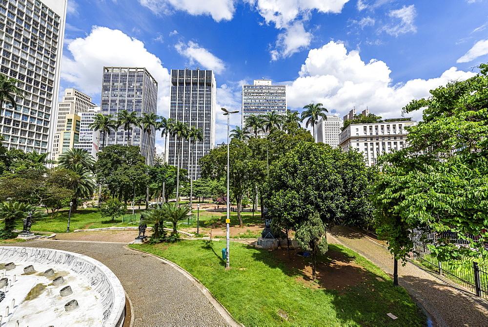 Vale do Anhangabaú green area in central São Paulo, Brazil