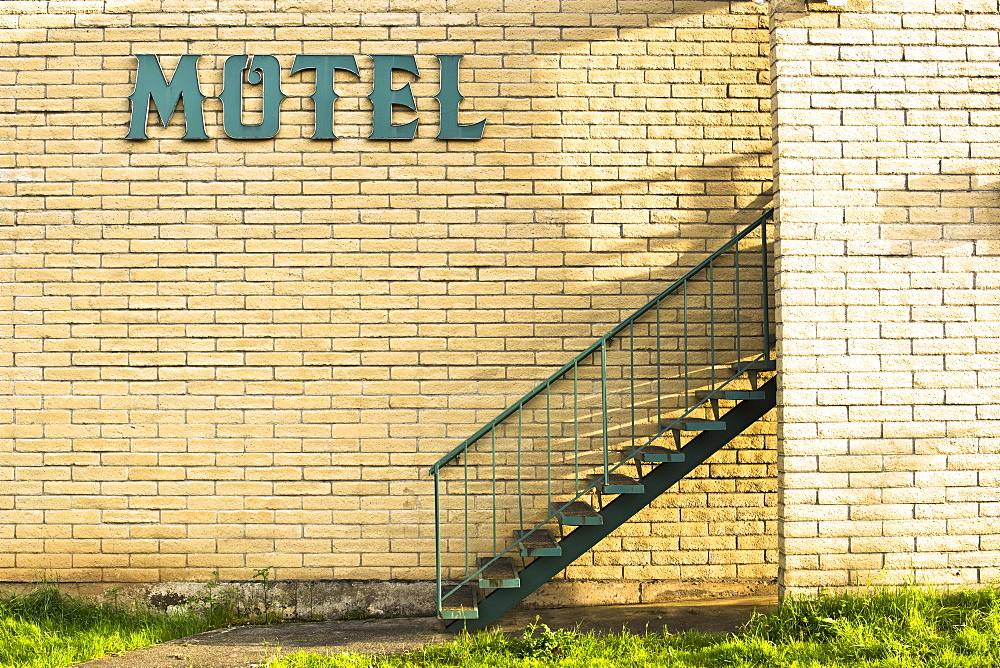 The outside of an old motel in northern California.