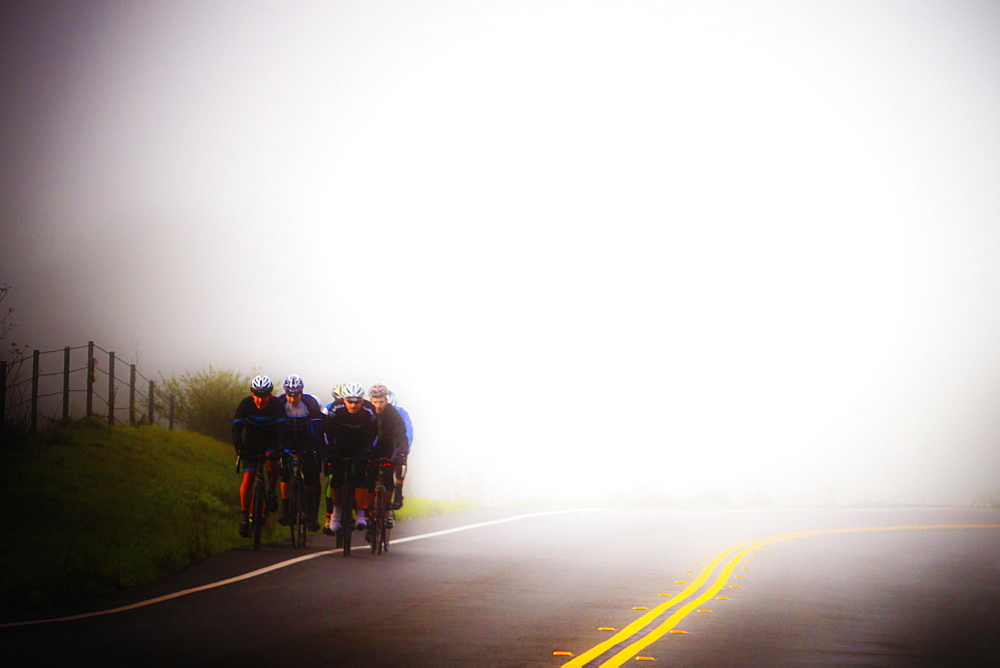 Bicyclists on a foggy early morning ride in Marin County, California. The focus on this image is soft. - 857-94713